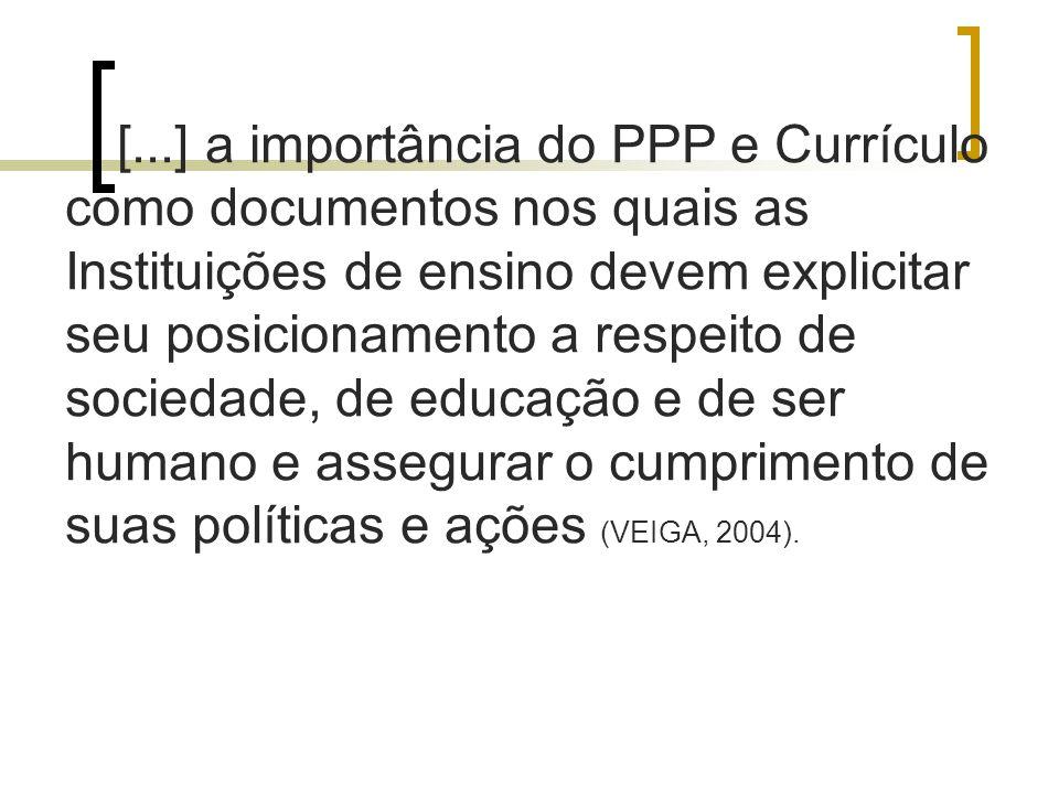 [...] a importância do PPP e Currículo como documentos nos quais as Instituições de ensino devem explicitar seu posicionamento a respeito de sociedade, de educação e de ser humano e assegurar o cumprimento de suas políticas e ações (VEIGA, 2004).