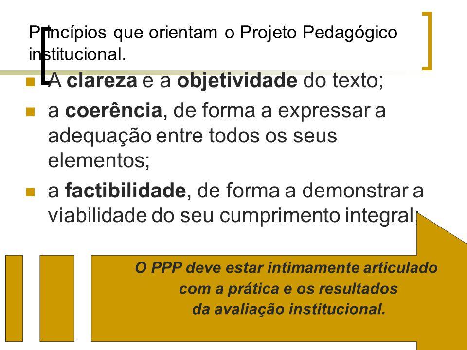 Princípios que orientam o Projeto Pedagógico institucional. A clareza e a objetividade do texto; a coerência, de forma a expressar a adequação entre t