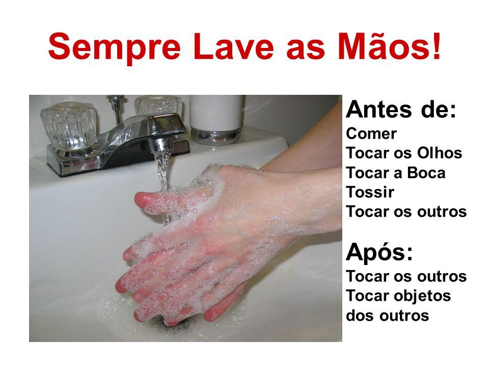 Sempre Lave as Mãos! Antes de: Comer Tocar os Olhos Tocar a Boca Tossir Tocar os outros Após: Tocar os outros Tocar objetos dos outros