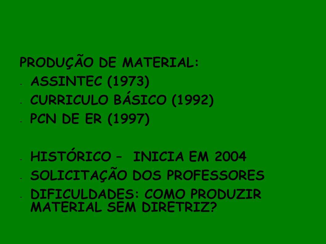 PRODUÇÃO DE MATERIAL: - ASSINTEC (1973) - CURRICULO BÁSICO (1992) - PCN DE ER (1997) - HISTÓRICO – INICIA EM 2004 - SOLICITAÇÃO DOS PROFESSORES - DIFI