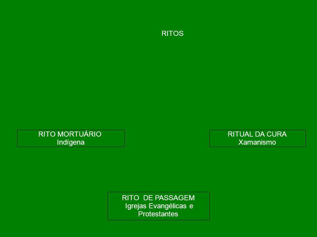 RITOS RITO MORTUÁRIO Indígena RITO DE PASSAGEM Igrejas Evangélicas e Protestantes RITUAL DA CURA Xamanismo
