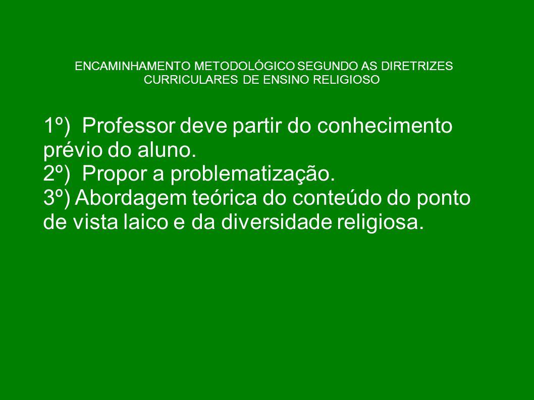 ENCAMINHAMENTO METODOLÓGICO SEGUNDO AS DIRETRIZES CURRICULARES DE ENSINO RELIGIOSO 1º) Professor deve partir do conhecimento prévio do aluno. 2º) Prop
