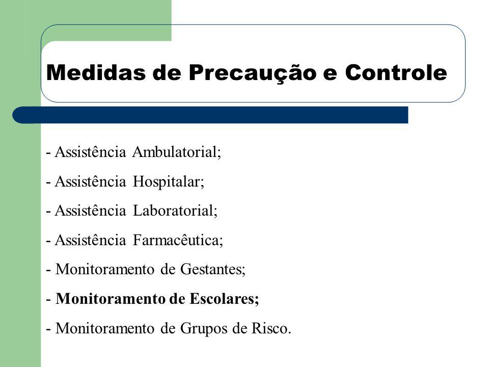 Medidas de Precaução e Controle - Assistência Ambulatorial; - Assistência Hospitalar; - Assistência Laboratorial; - Assistência Farmacêutica; - Monitoramento de Gestantes; - Monitoramento de Escolares; - Monitoramento de Grupos de Risco.