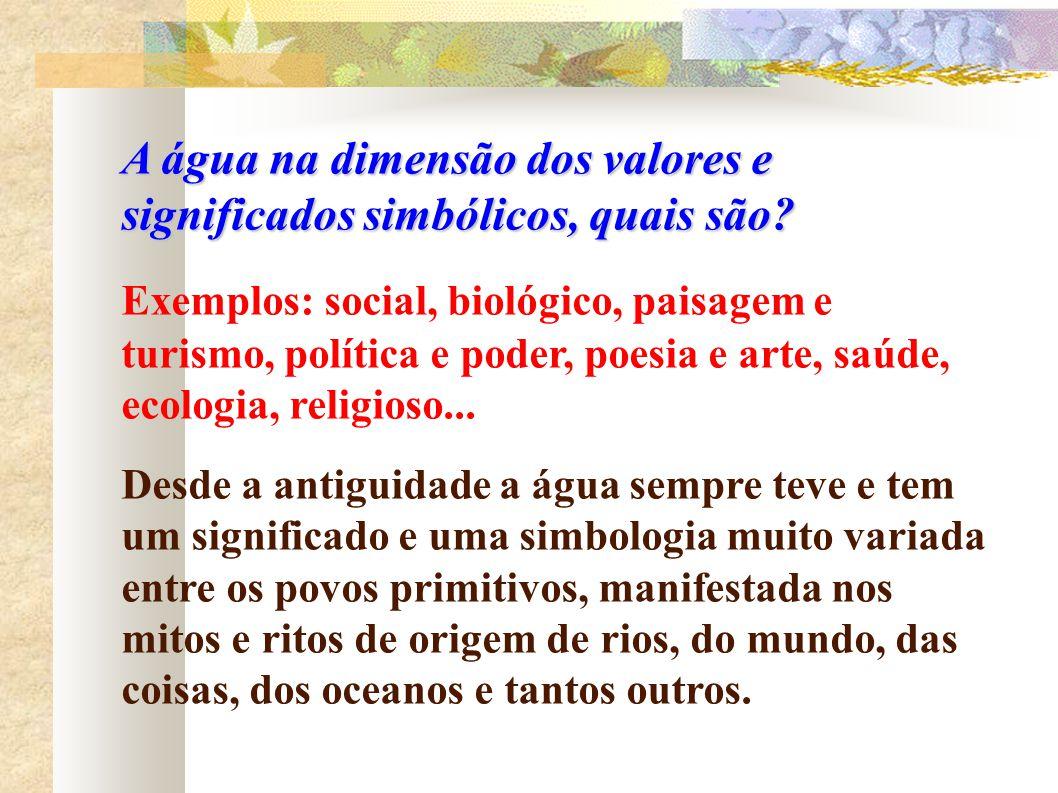 A água na dimensão dos valores e significados simbólicos, quais são? Exemplos: social, biológico, paisagem e turismo, política e poder, poesia e arte,