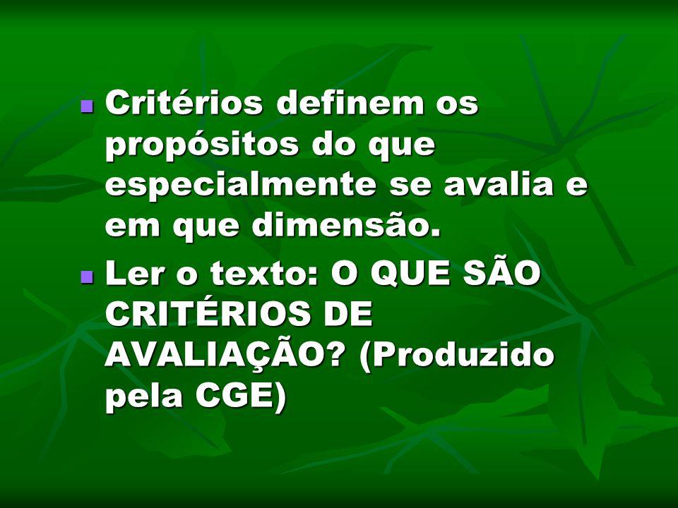 Critérios definem os propósitos do que especialmente se avalia e em que dimensão. Critérios definem os propósitos do que especialmente se avalia e em