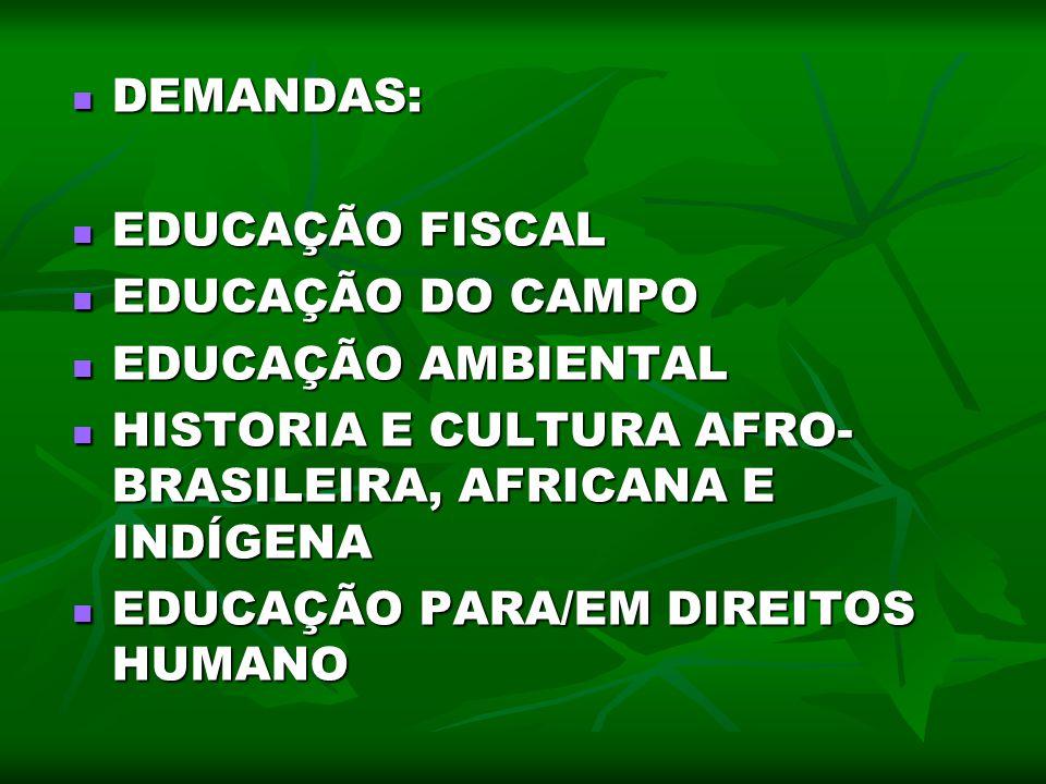 DEMANDAS: DEMANDAS: EDUCAÇÃO FISCAL EDUCAÇÃO FISCAL EDUCAÇÃO DO CAMPO EDUCAÇÃO DO CAMPO EDUCAÇÃO AMBIENTAL EDUCAÇÃO AMBIENTAL HISTORIA E CULTURA AFRO-