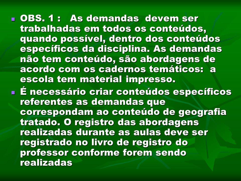 OBS. 1 : As demandas devem ser trabalhadas em todos os conteúdos, quando possível, dentro dos conteúdos específicos da disciplina. As demandas não tem