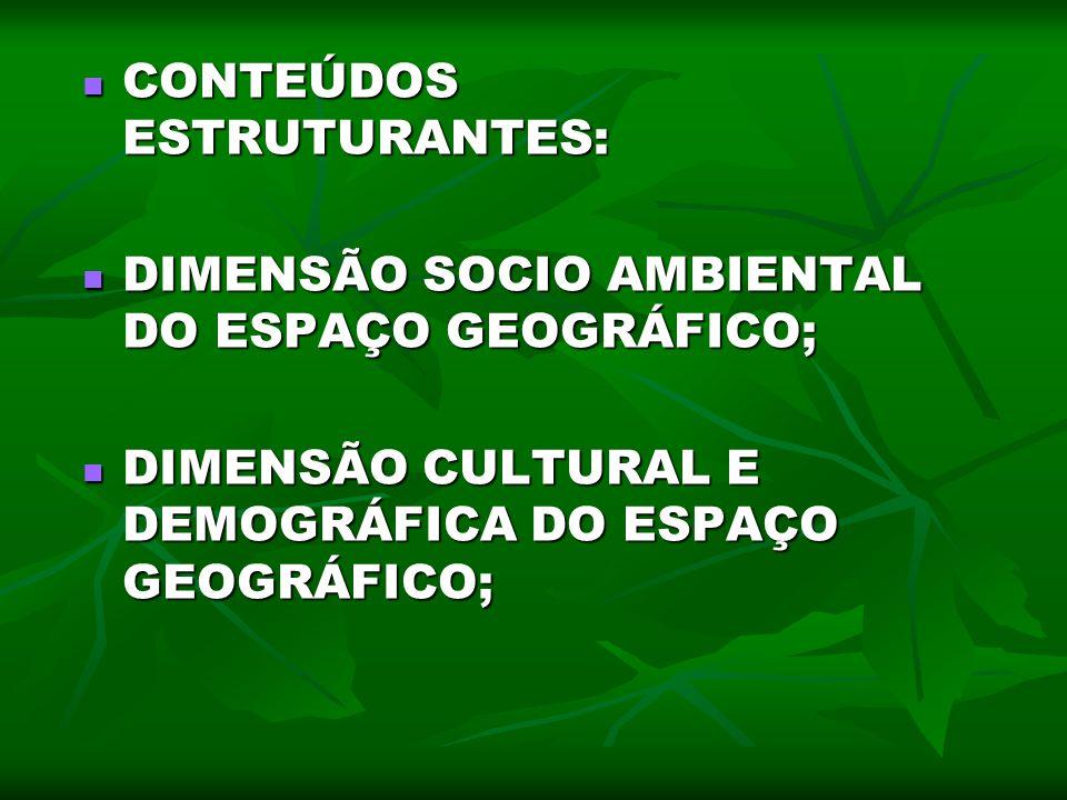 CONTEÚDOS ESTRUTURANTES: CONTEÚDOS ESTRUTURANTES: DIMENSÃO SOCIO AMBIENTAL DO ESPAÇO GEOGRÁFICO; DIMENSÃO SOCIO AMBIENTAL DO ESPAÇO GEOGRÁFICO; DIMENS