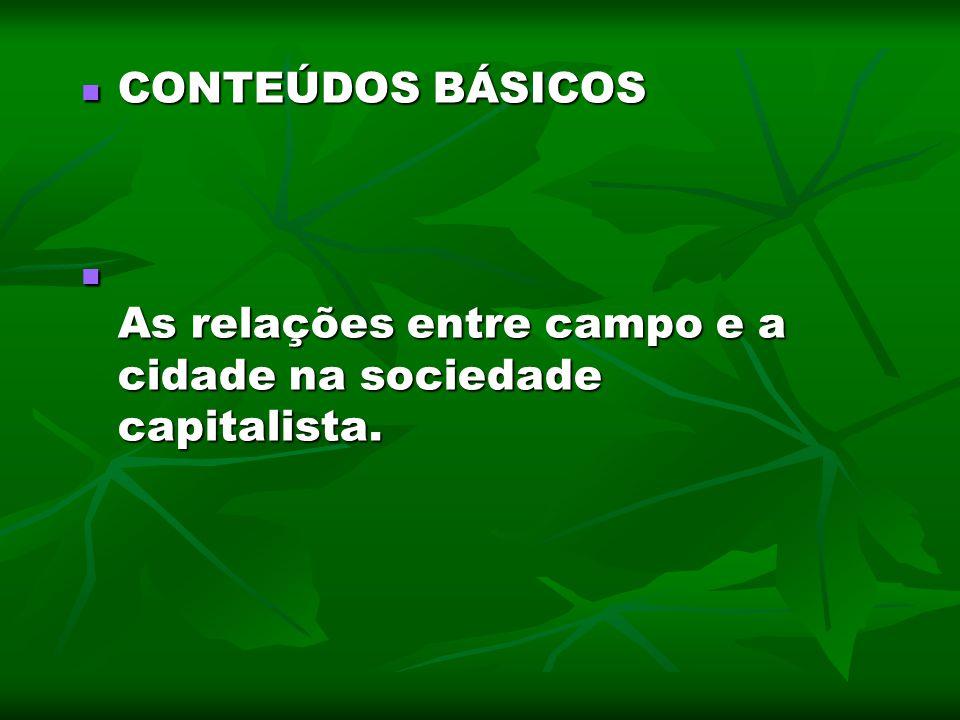 CONTEÚDOS BÁSICOS CONTEÚDOS BÁSICOS As relações entre campo e a cidade na sociedade capitalista. As relações entre campo e a cidade na sociedade capit