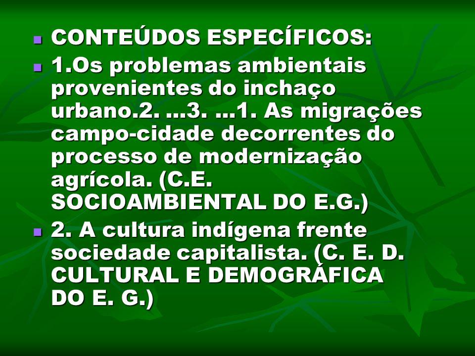 CONTEÚDOS ESPECÍFICOS: CONTEÚDOS ESPECÍFICOS: 1.Os problemas ambientais provenientes do inchaço urbano.2....3....1. As migrações campo-cidade decorren