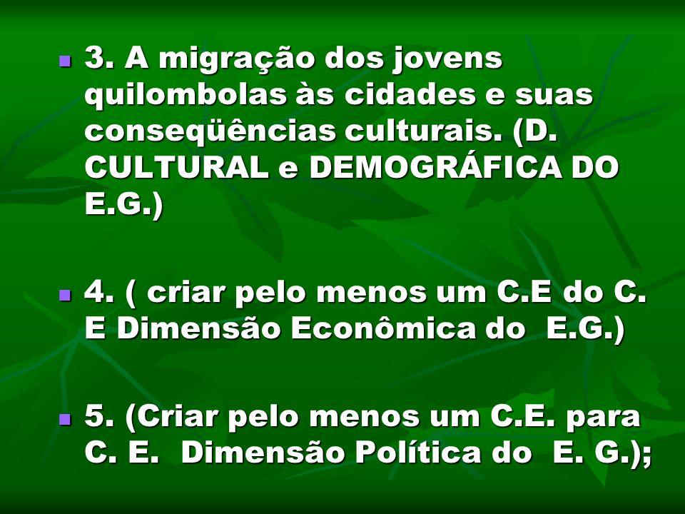 3. A migração dos jovens quilombolas às cidades e suas conseqüências culturais. (D. CULTURAL e DEMOGRÁFICA DO E.G.) 3. A migração dos jovens quilombol