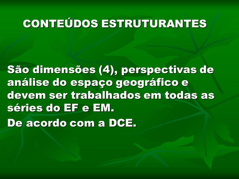 CONTEÚDOS ESTRUTURANTES São dimensões (4), perspectivas de análise do espaço geográfico e devem ser trabalhados em todas as séries do EF e EM. De acor