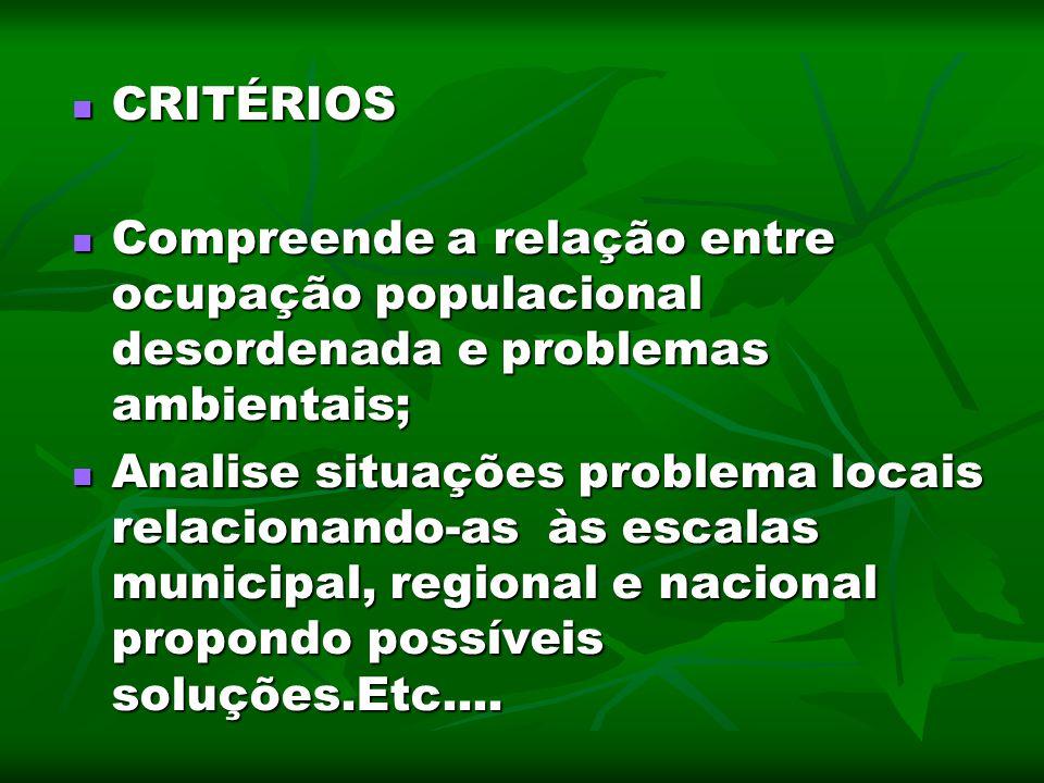 CRITÉRIOS CRITÉRIOS Compreende a relação entre ocupação populacional desordenada e problemas ambientais; Compreende a relação entre ocupação populacio