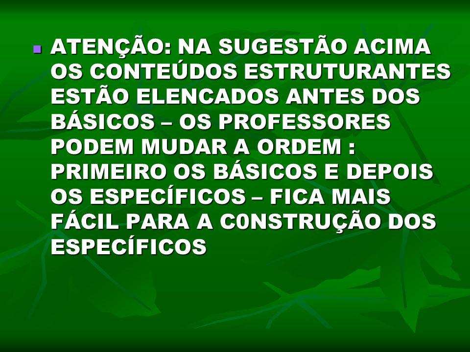 ATENÇÃO: NA SUGESTÃO ACIMA OS CONTEÚDOS ESTRUTURANTES ESTÃO ELENCADOS ANTES DOS BÁSICOS – OS PROFESSORES PODEM MUDAR A ORDEM : PRIMEIRO OS BÁSICOS E D