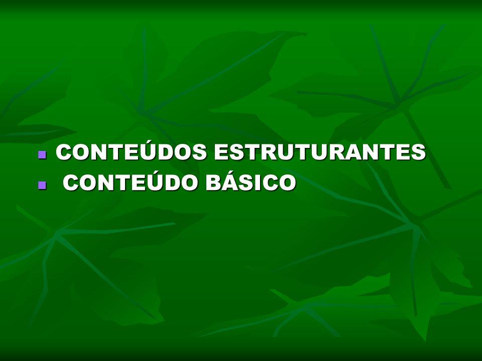 CONTEÚDOS ESTRUTURANTES CONTEÚDOS ESTRUTURANTES CONTEÚDO BÁSICO CONTEÚDO BÁSICO