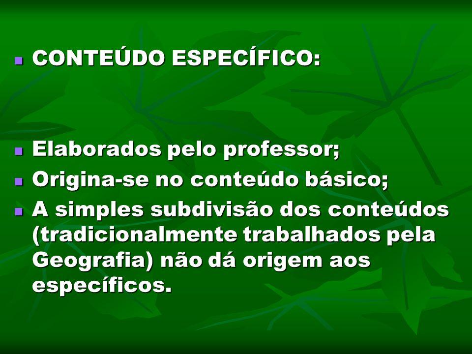 CONTEÚDO ESPECÍFICO: CONTEÚDO ESPECÍFICO: Elaborados pelo professor; Elaborados pelo professor; Origina-se no conteúdo básico; Origina-se no conteúdo