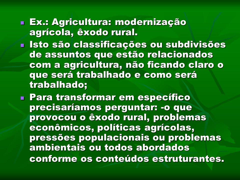 Ex.: Agricultura: modernização agrícola, êxodo rural. Ex.: Agricultura: modernização agrícola, êxodo rural. Isto são classificações ou subdivisões de