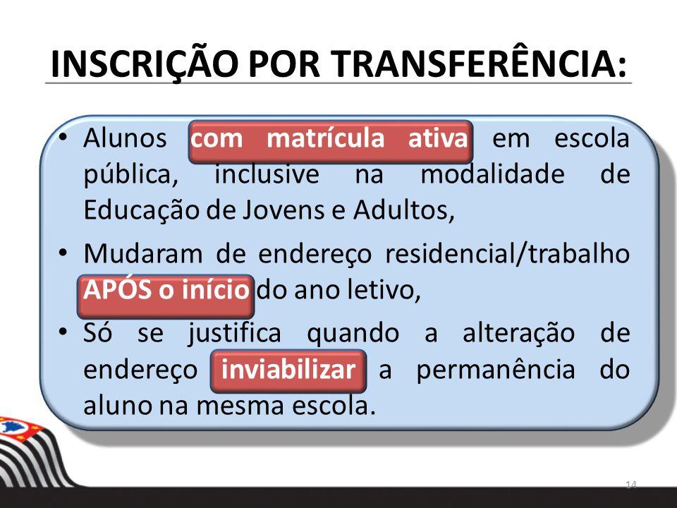 INSCRIÇÃO POR TRANSFERÊNCIA: Alunos com matrícula ativa em escola pública, inclusive na modalidade de Educação de Jovens e Adultos, Mudaram de endereç