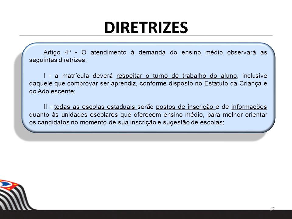 DIRETRIZES 17 Artigo 4º - O atendimento à demanda do ensino médio observará as seguintes diretrizes: I - a matrícula deverá respeitar o turno de traba