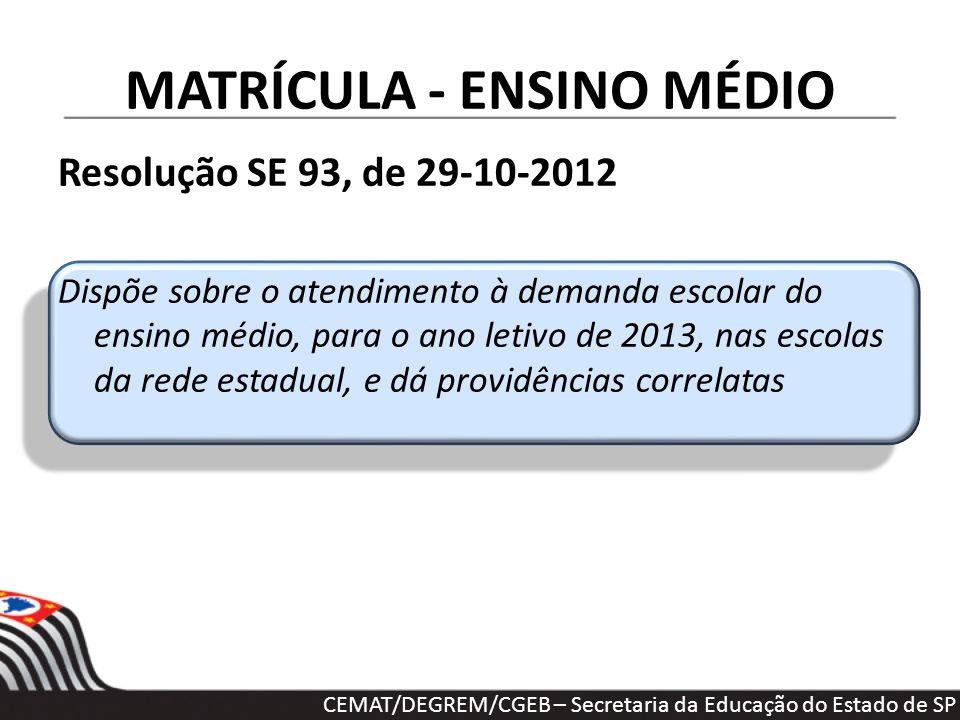 MATRÍCULA - ENSINO MÉDIO Resolução SE 93, de 29-10-2012 Dispõe sobre o atendimento à demanda escolar do ensino médio, para o ano letivo de 2013, nas e