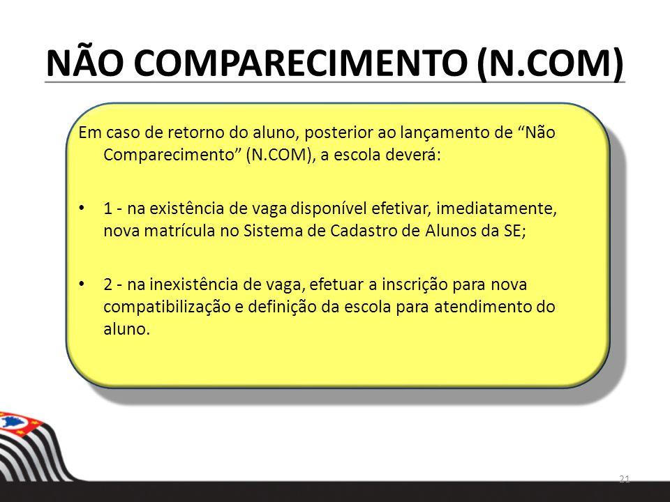 NÃO COMPARECIMENTO (N.COM) Em caso de retorno do aluno, posterior ao lançamento de Não Comparecimento (N.COM), a escola deverá: 1 - na existência de v