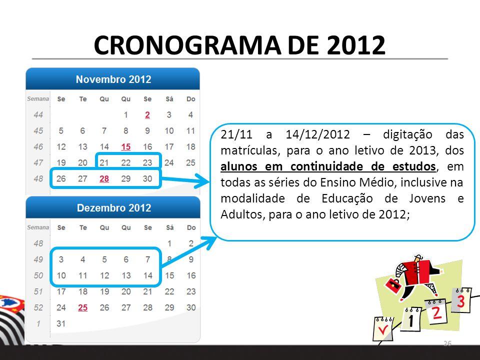 CRONOGRAMA DE 2012 21/11 a 14/12/2012 – digitação das matrículas, para o ano letivo de 2013, dos alunos em continuidade de estudos, em todas as séries