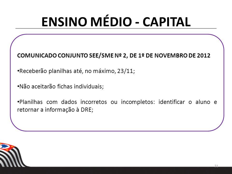 ENSINO MÉDIO - CAPITAL COMUNICADO CONJUNTO SEE/SME Nº 2, DE 1º DE NOVEMBRO DE 2012 Receberão planilhas até, no máximo, 23/11; Não aceitarão fichas ind