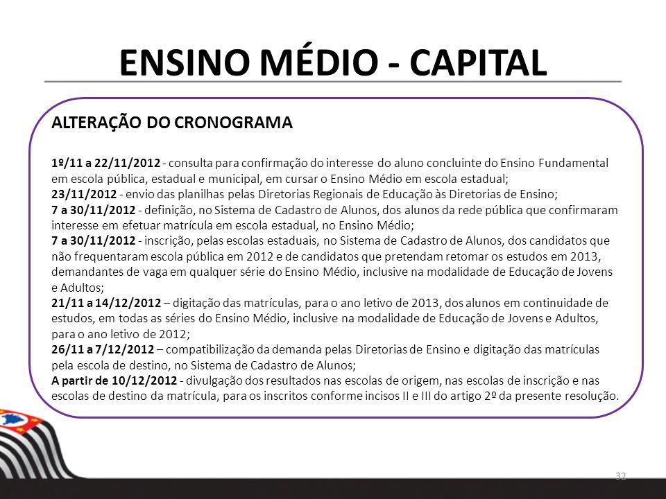 ENSINO MÉDIO - CAPITAL ALTERAÇÃO DO CRONOGRAMA 1º/11 a 22/11/2012 - consulta para confirmação do interesse do aluno concluinte do Ensino Fundamental e