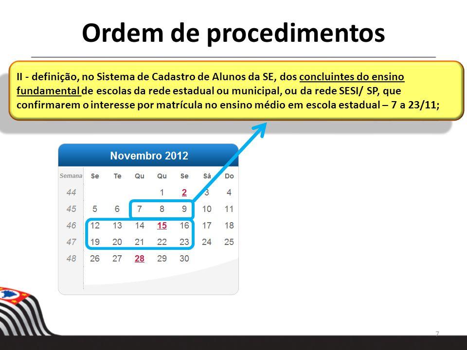 CRONOGRAMA DE 2013 A partir de 08/01/2013 – inscrição/ cadastramento dos candidatos à vaga na rede estadual que perderam os prazos previstos em 2012.