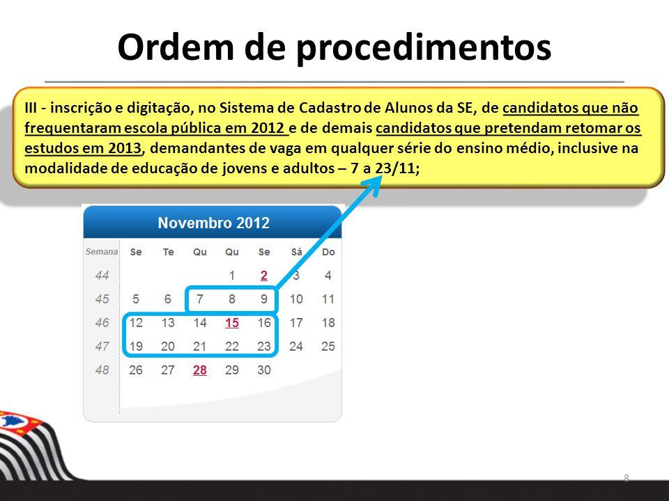 Ordem de procedimentos 9 IV - compatibilização entre a demanda e as vagas disponíveis – 26/11 a 7/12; V - efetivação da matrícula, no Sistema de Cadastro de Alunos da SE, dos alunos do Ensino Médio em continuidade de estudos e dos candidatos inscritos – 26/11 a 7/12; IV - compatibilização entre a demanda e as vagas disponíveis – 26/11 a 7/12; V - efetivação da matrícula, no Sistema de Cadastro de Alunos da SE, dos alunos do Ensino Médio em continuidade de estudos e dos candidatos inscritos – 26/11 a 7/12;