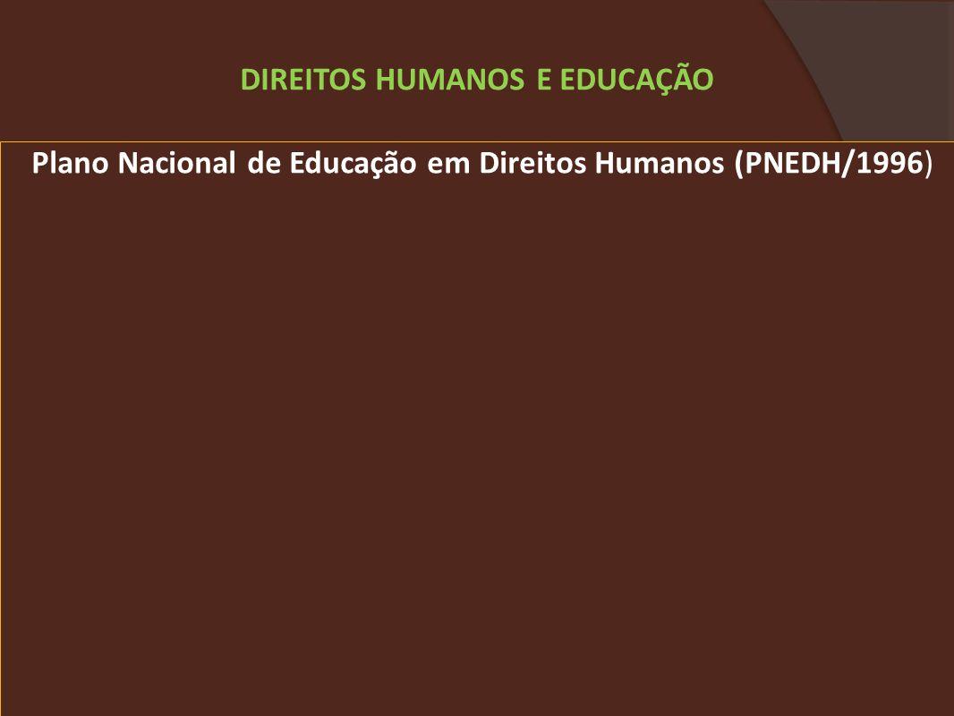Plano Nacional de Educação em Direitos Humanos (PNEDH/1996) DIREITOS HUMANOS E EDUCAÇÃO