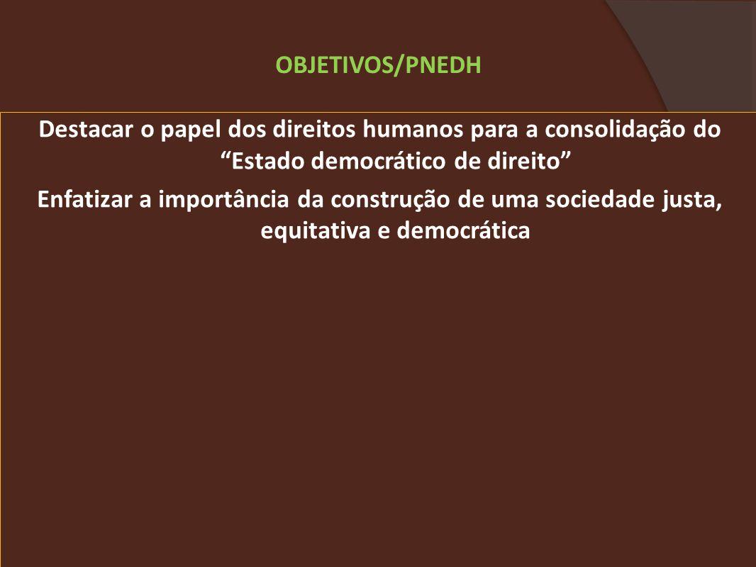 Destacar o papel dos direitos humanos para a consolidação do Estado democrático de direito Enfatizar a importância da construção de uma sociedade justa, equitativa e democrática OBJETIVOS/PNEDH