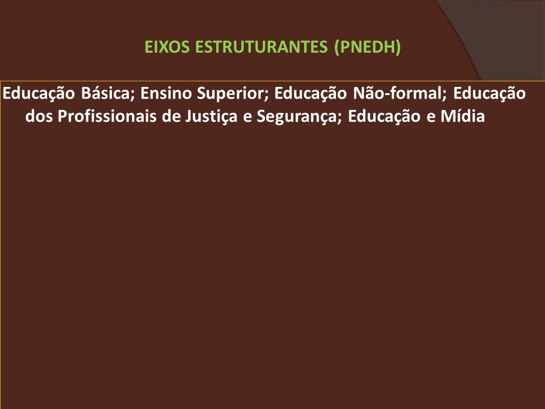 Educação Básica; Ensino Superior; Educação Não-formal; Educação dos Profissionais de Justiça e Segurança; Educação e Mídia EIXOS ESTRUTURANTES (PNEDH)