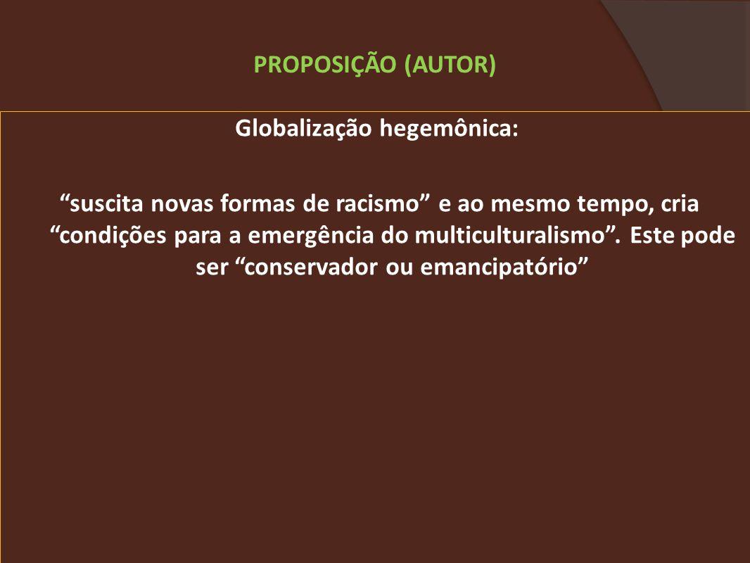 Globalização hegemônica: suscita novas formas de racismo e ao mesmo tempo, cria condições para a emergência do multiculturalismo.