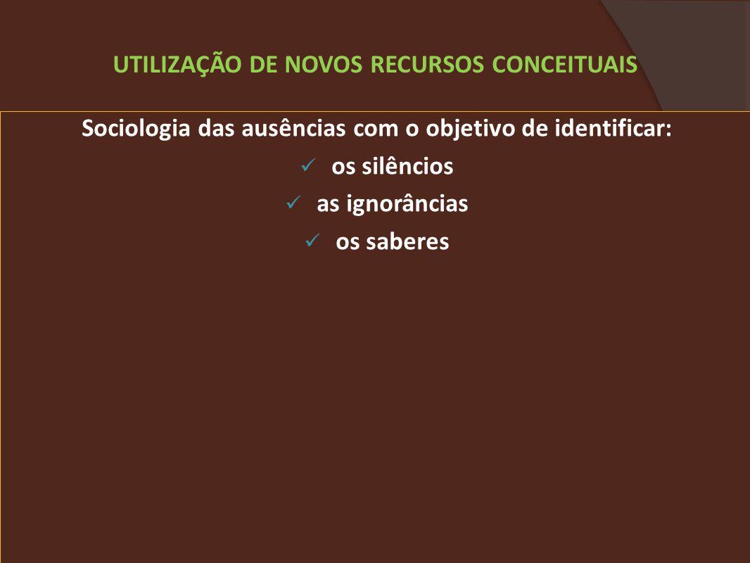 Sociologia das ausências com o objetivo de identificar: os silêncios as ignorâncias os saberes UTILIZAÇÃO DE NOVOS RECURSOS CONCEITUAIS