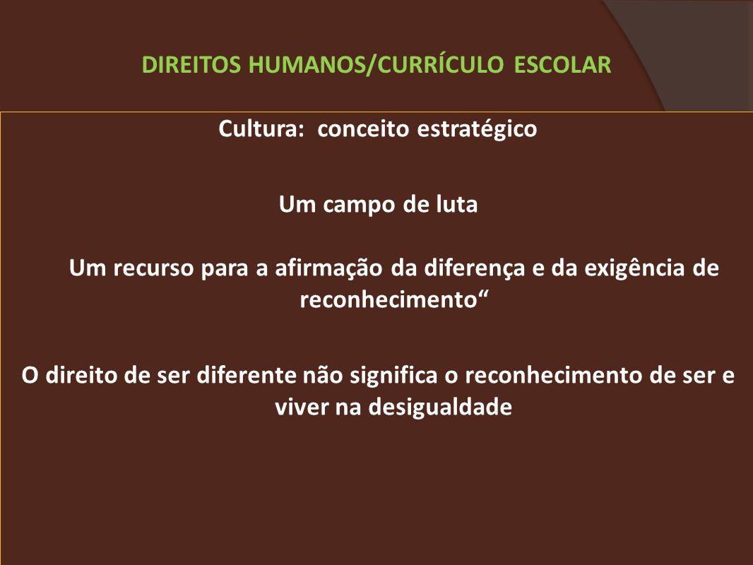 Cultura: conceito estratégico Um campo de luta Um recurso para a afirmação da diferença e da exigência de reconhecimento O direito de ser diferente não significa o reconhecimento de ser e viver na desigualdade DIREITOS HUMANOS/CURRÍCULO ESCOLAR