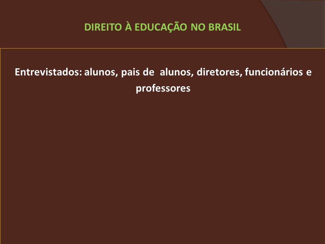 Entrevistados: alunos, pais de alunos, diretores, funcionários e professores DIREITO À EDUCAÇÃO NO BRASIL