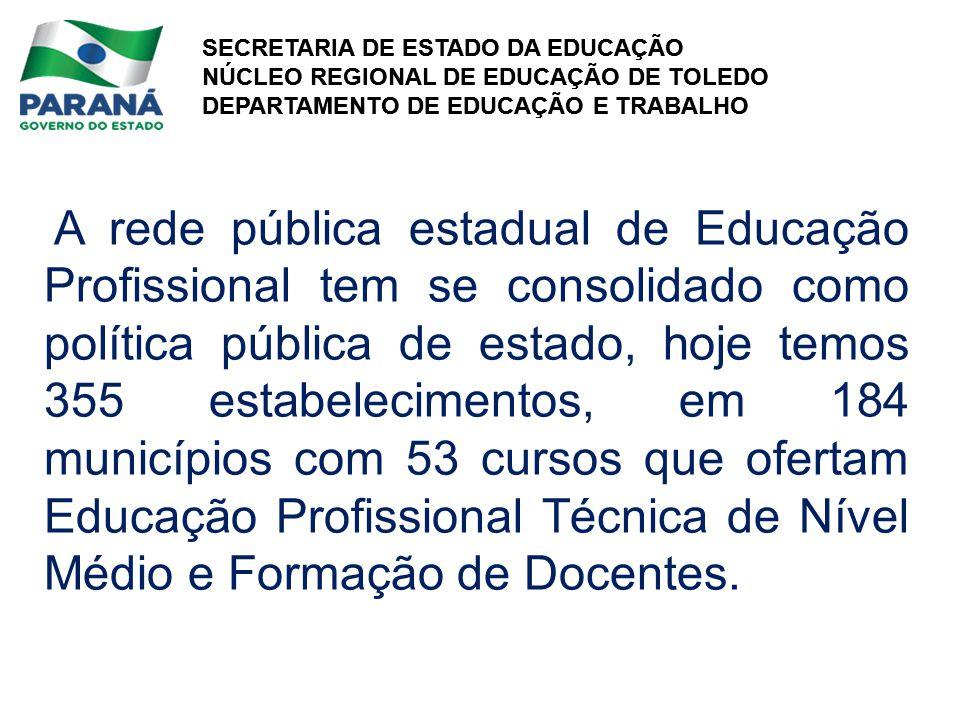 SECRETARIA DE ESTADO DA EDUCAÇÃO NÚCLEO REGIONAL DE EDUCAÇÃO DE TOLEDO DEPARTAMENTO DE EDUCAÇÃO E TRABALHO SECRETARIA DE ESTADO DA EDUCAÇÃO NÚCLEO REGIONAL DE EDUCAÇÃO DE TOLEDO DEPARTAMENTO DE EDUCAÇÃO E TRABALHO A rede pública estadual de Educação Profissional tem se consolidado como política pública de estado, hoje temos 355 estabelecimentos, em 184 municípios com 53 cursos que ofertam Educação Profissional Técnica de Nível Médio e Formação de Docentes.
