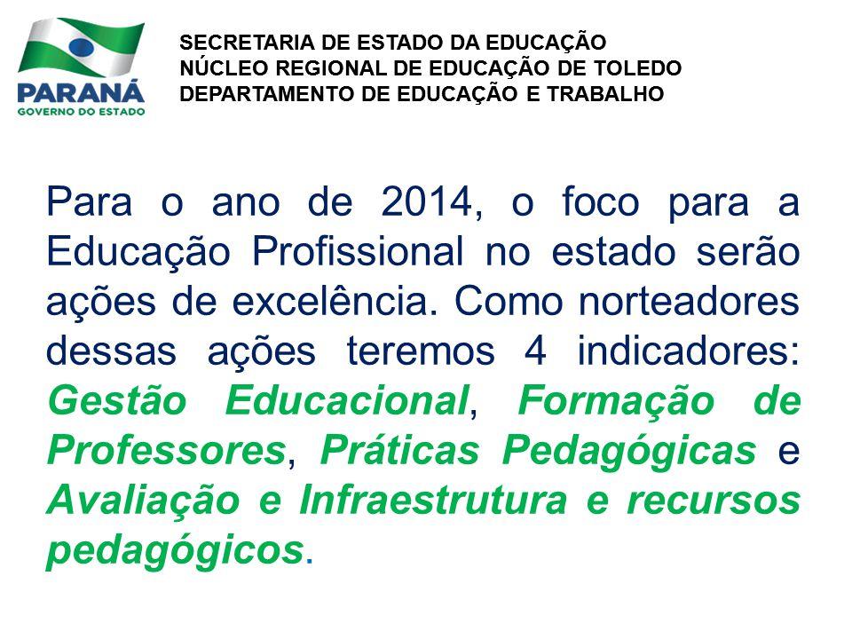 SECRETARIA DE ESTADO DA EDUCAÇÃO NÚCLEO REGIONAL DE EDUCAÇÃO DE TOLEDO DEPARTAMENTO DE EDUCAÇÃO E TRABALHO SECRETARIA DE ESTADO DA EDUCAÇÃO NÚCLEO REGIONAL DE EDUCAÇÃO DE TOLEDO DEPARTAMENTO DE EDUCAÇÃO E TRABALHO Para o ano de 2014, o foco para a Educação Profissional no estado serão ações de excelência.