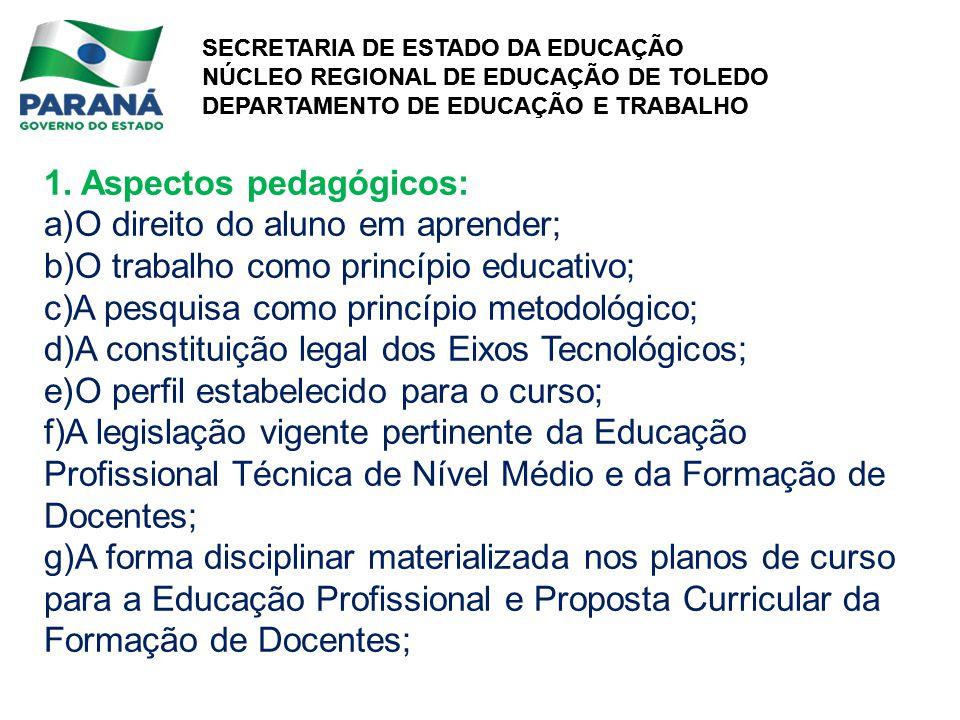 SECRETARIA DE ESTADO DA EDUCAÇÃO NÚCLEO REGIONAL DE EDUCAÇÃO DE TOLEDO DEPARTAMENTO DE EDUCAÇÃO E TRABALHO SECRETARIA DE ESTADO DA EDUCAÇÃO NÚCLEO REGIONAL DE EDUCAÇÃO DE TOLEDO DEPARTAMENTO DE EDUCAÇÃO E TRABALHO 1.