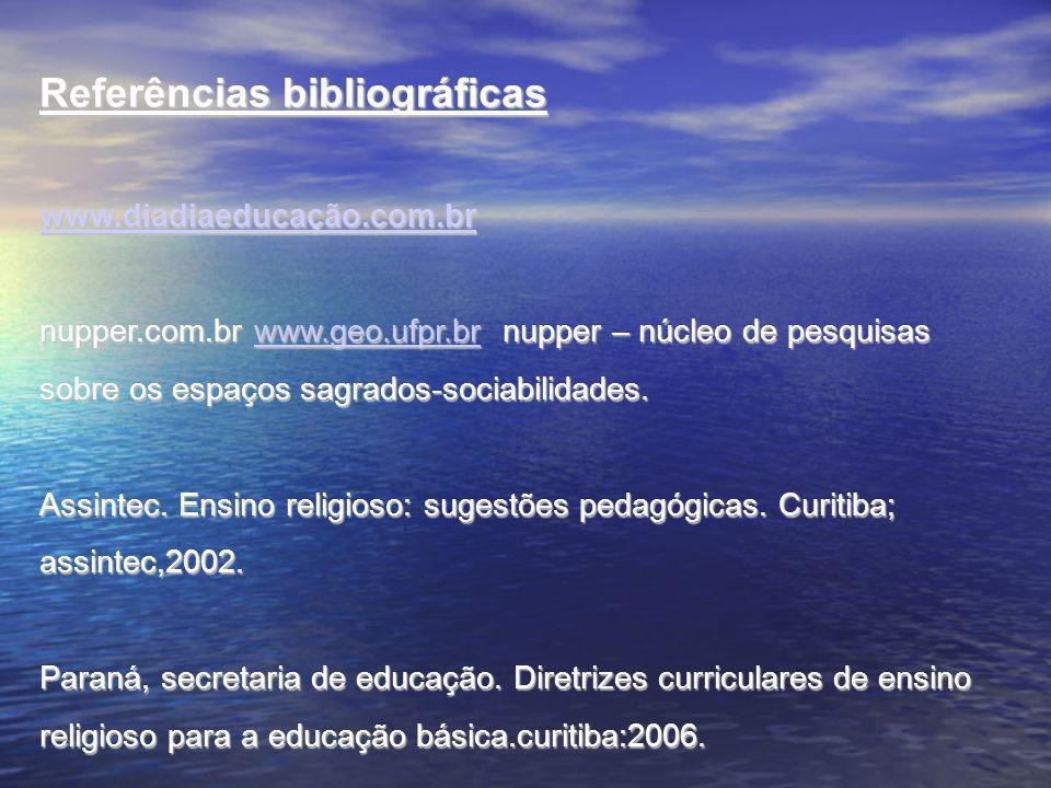 Referências bibliográficas www.diadiaeducação.com.br nupper.com.br www.geo.ufpr.br nupper – núcleo de pesquisas sobre os espaços sagrados-sociabilidades.