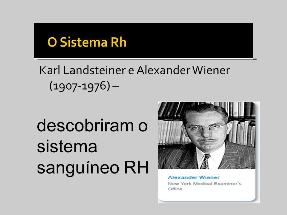 Karl Landsteiner e Alexander Wiener (1907-1976) – descobriram o sistema sanguíneo RH