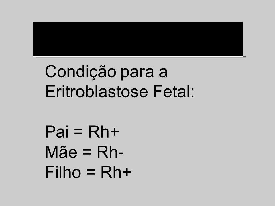Condição para a Eritroblastose Fetal: Pai = Rh+ Mãe = Rh- Filho = Rh+