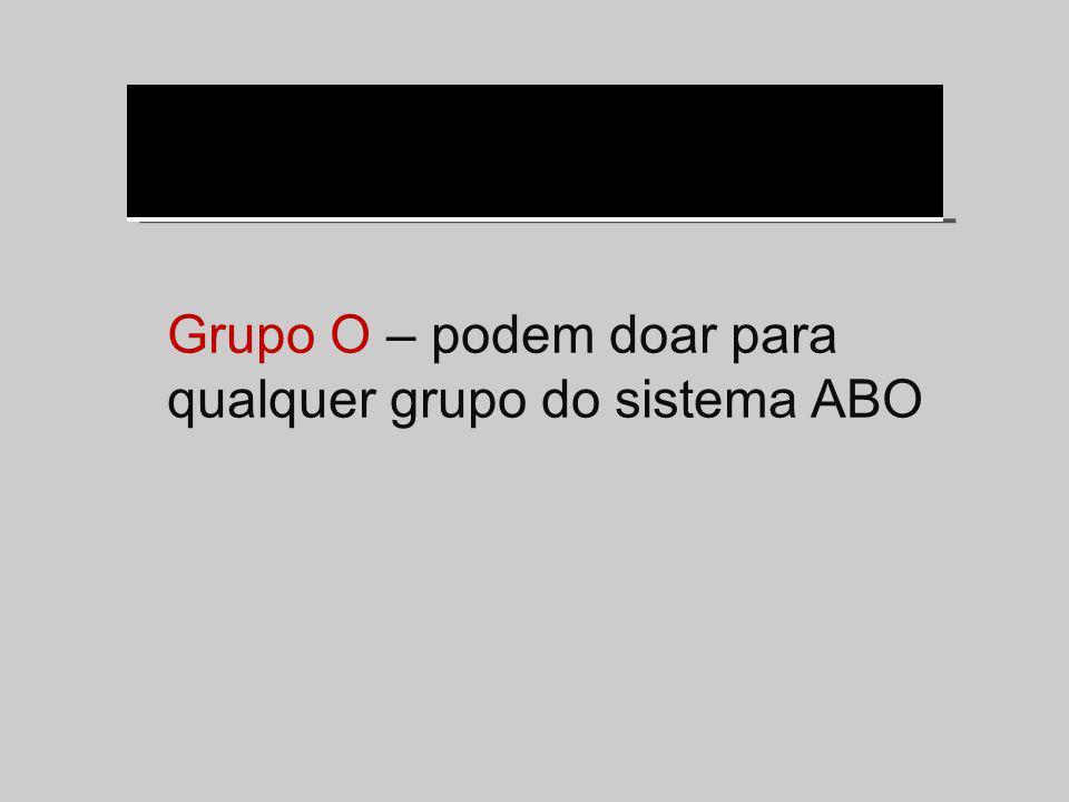 Grupo O – podem doar para qualquer grupo do sistema ABO