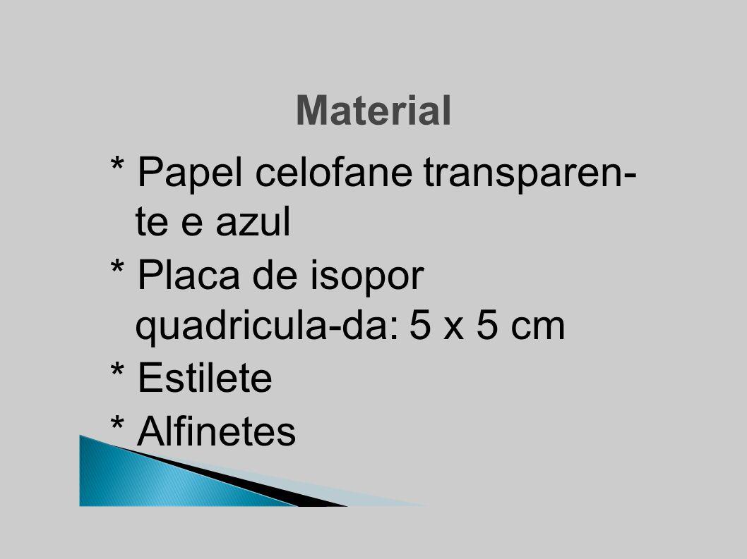 Material * Papel celofane transparen- te e azul * Placa de isopor quadricula-da: 5 x 5 cm * Estilete * Alfinetes