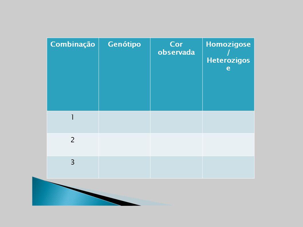 CombinaçãoGenótipo Cor observada Homozigose / Heterozigos e 1 2 3