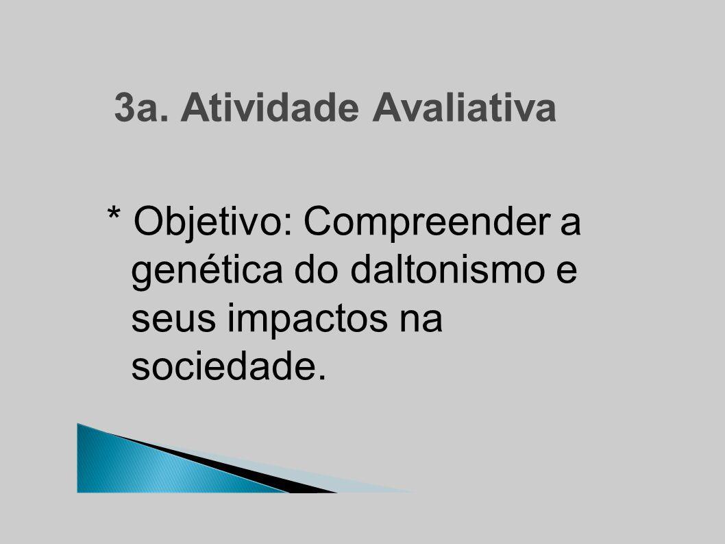 3a. Atividade Avaliativa * Objetivo: Compreender a genética do daltonismo e seus impactos na sociedade.