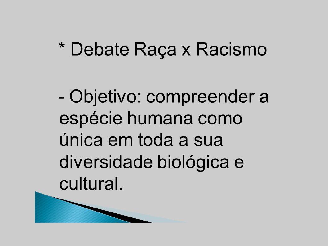 * Debate Raça x Racismo - Objetivo: compreender a espécie humana como única em toda a sua diversidade biológica e cultural.