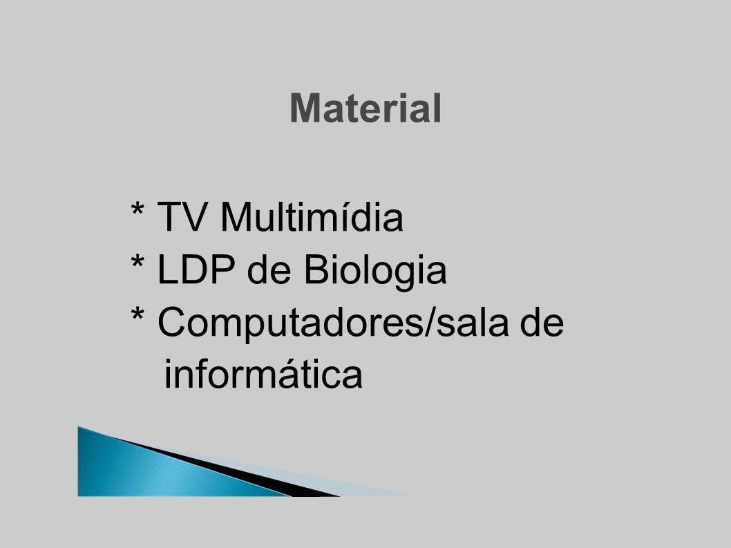 Material * TV Multimídia * LDP de Biologia * Computadores/sala de informática