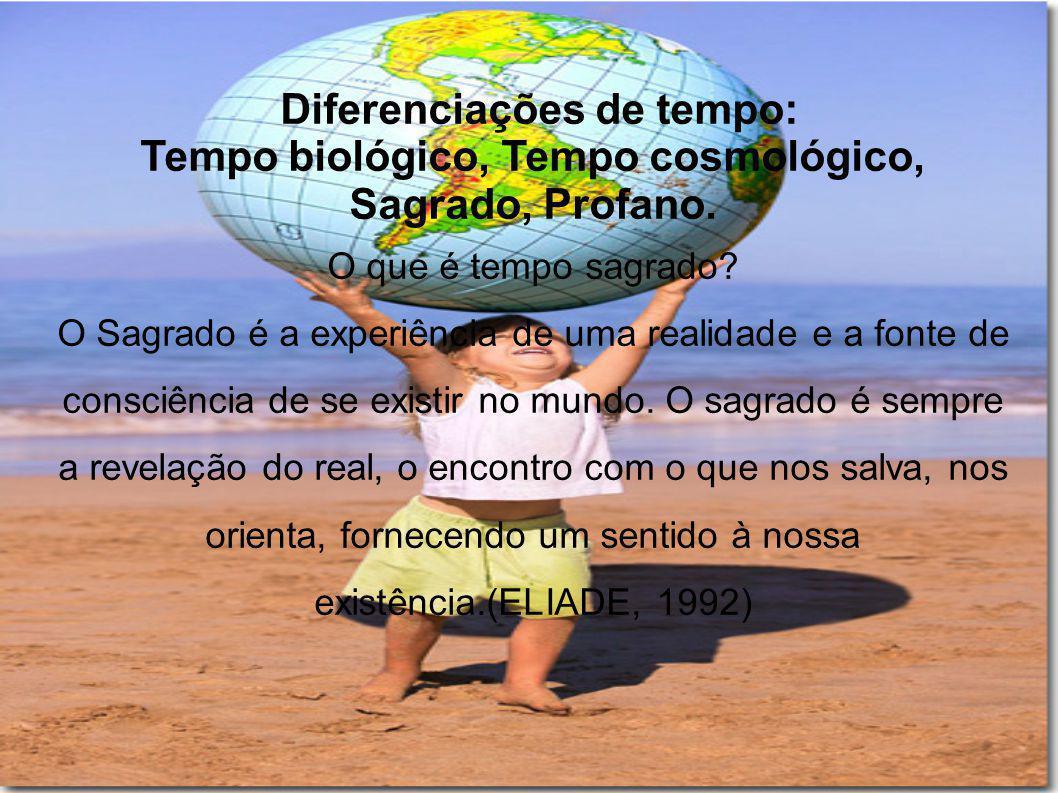 Diferenciações de tempo: Tempo biológico, Tempo cosmológico, Sagrado, Profano. O que é tempo sagrado? O Sagrado é a experiência de uma realidade e a f